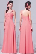 Modern One Shoulder Ruching Chiffon Floor Length Pink Formal Bridesmaid Gown