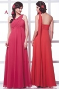 Chic One Shoulder Chiffon Ruching Long Red Bridesmaid Gown