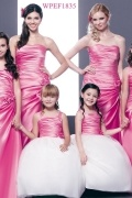 Modern Satin Strapless Ruching A Line Long Pink Formal Bridesmaid Dress