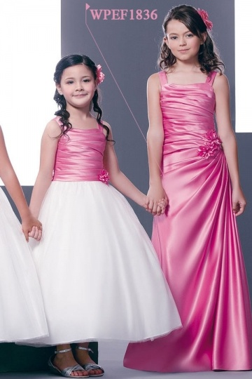 Dressesmall Chic Straps Sleeveless Satin Flower Pink Junior Formal Bridesmaid Dress