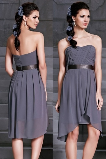 Dressesmall Modern Sweetheart Backless Chiffon Knee Length Gray Formal Bridesmaid Dress