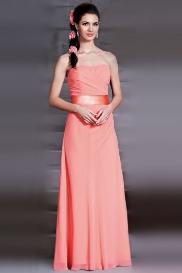 Simple Strapless Sash A Line Floor Length Chiffon Bridesmaid Dress