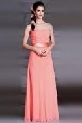 Simple Strapless Sash A Line Floor Length Chiffon Bridesmaid Dress
