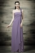 Chic One Shoulder Flowers Chiffon Draping Purple Bridesmaid Gown