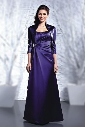 Modern A Line Satin Strapless Lace Up Long Purple Bridesmaid Dress