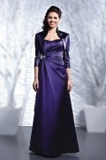 Modern A Line Satin Strapless Lace Up Long Purple Formal Bridesmaid Dress