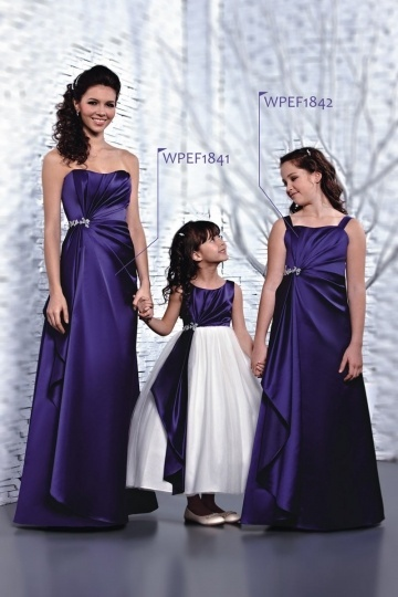 Modern Straps Satin Ruching A Line Long Purple Junior Bridesmaid Dress