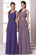 Chic One Shoulder Chiffon A Line Full Length Blue Formal Bridesmaid Dress