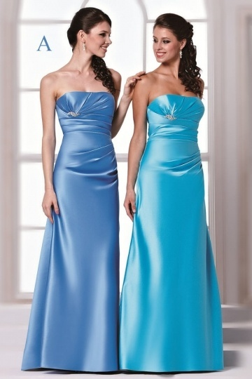 Dressesmall Sexy Strapless Satin A Line Floor Length Blue Formal Bridesmaid Dress