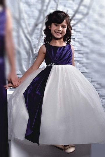 Dressesmall Persun Color Block Flower girl Dress with Puffy skirt