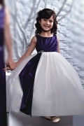 Persun Color Block Flower girl Dress with Puffy skirt