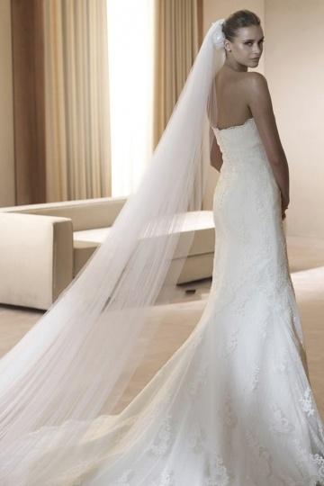 Ivory Tüll Schnittkante Klassisch Brautschleier Persunshop