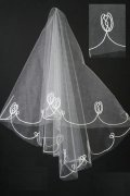 Elbow Length One-tier Drop Ribbon Wedding Veil