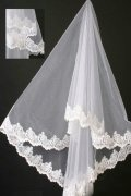 Elbow Length One-tier Drop Wedding Veil with Lace