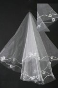 Elbow Length One-tier Cut Edge Ribbon Wedding Veil
