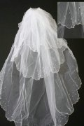 Fingertip Length Three-tier Waterfall Dots Wedding Veil