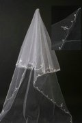 Simple Chapel Length One-tier Ribbon Edge Wedding Veil