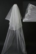 Chapel Length Two-tier Ribbon Edge Cascade Wedding Veil