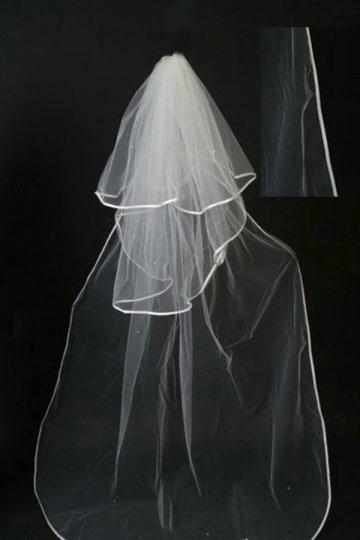 Chapel Length Two-tier Ribbon Edge Drop Wedding Veil