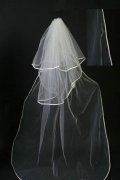 Chapel Length Two-tier Ribbon Edge Drop Wedding Veil