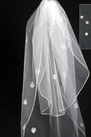Fingertip Length One-tier Angel Cut Flower Wedding Veil