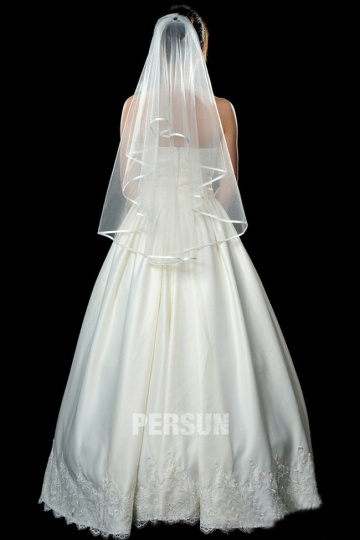 One Tier Elbow Length Wedding Veil with Ribbon