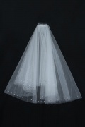 Elbow Length One-tier Pearl Trim Edge Wedding Veil