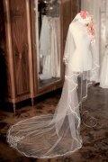 Einschichtig Kathedralen Hochzeit Schleier mit Perlenbesetzer