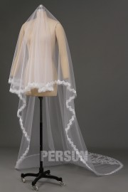 Cathedral Length One-tier Pearl Trim Wedding Veil