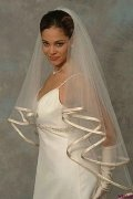 Fingertip Length One-tier Drop Ribbon Edge Wedding Veil