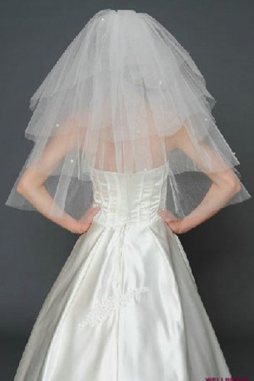 Elbow length Three-tier Cut Edge Dots Wedding Veil
