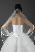 Fingertip Length Two-tier Oval Applique Wedding Veil
