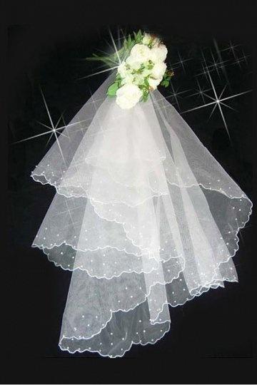 Ellbogenlang einschichtig klassisch Perlenstickerei Hochzeit Schleier Persunshop