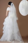 Waltz Length Two-tier Classic Lace Applique Wedding Veil