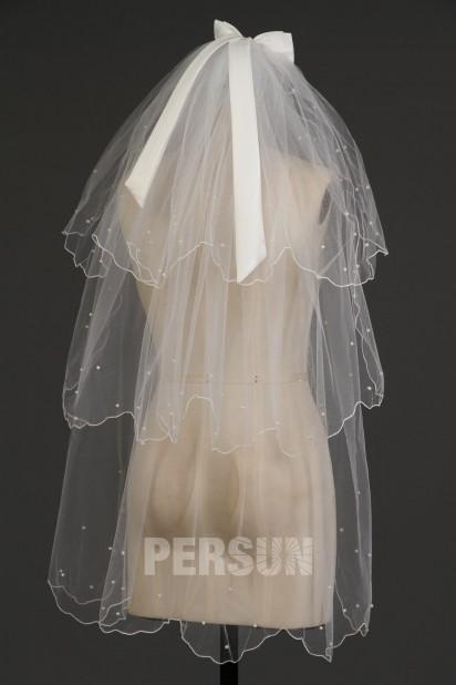 Fingerspitzenlang drittschichtig Oval Rüschen Hochzeit Schleier Persunshop