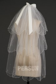 Fingertip Length Three-tier Oval Ruffled Wedding Veil