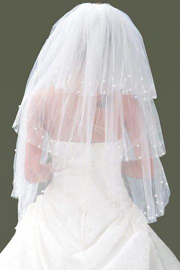 Ellbogenlang drittschichtig klassisch Perlen Hochzeit Schleier Persunshop