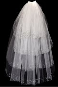 Fingertip Length Four-tier Angel Cut Rhinestone Wedding Veil
