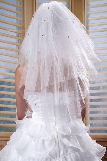 Ellbogenlang drittschichtig Oval Perlenstickerei Hochzeit Schleier Persunshop