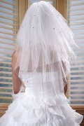 Elbow Length three-tier Oval Beaded Wedding Veil