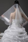 Simple Elbow Length Two-tier Drop Wedding Veil