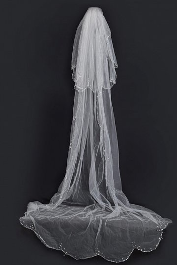 Kathedralenlang zweischichtig klassisch Perlen Schnittkante Hochzeit Schleier Persunshop