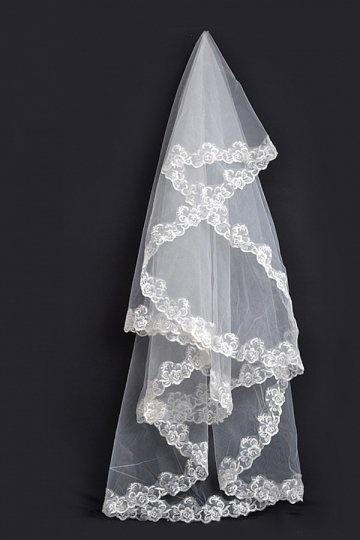 Véu de noiva 1 camada bordado decorado com apliques em tule