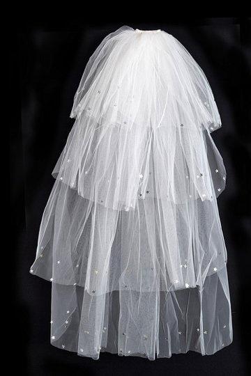 Véu de noiva 4 camadas estrela de brilho em organza