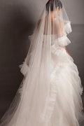 White Ruffles Train Cathedral Bridal Veil