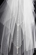 Gorgeous Pearls Four tier Drop Wedding Veil