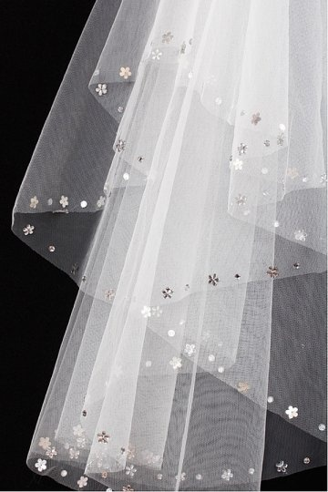 Véu de noiva 2 camadas bordado decorado de jóias em tule