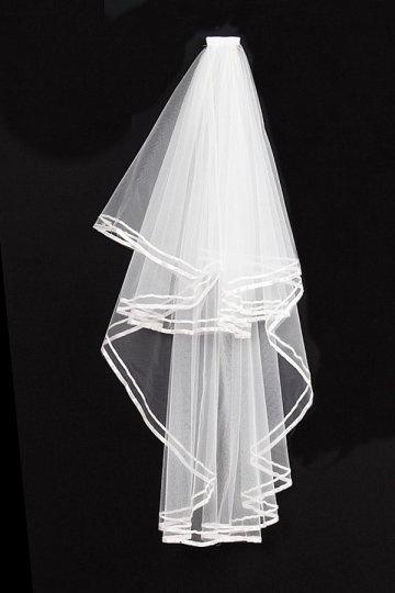 Véu de noiva clássico 2 camadas de fita de borda em tule