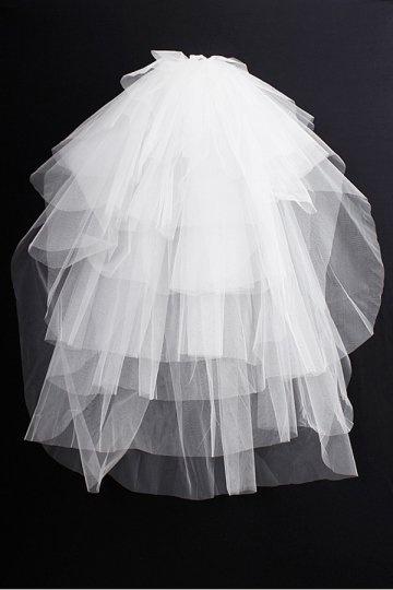 Véu de noiva clássico de seis camadas em organza