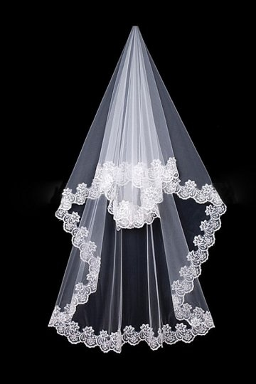 Véu de noiva clássico uma borda camada em tule bordado